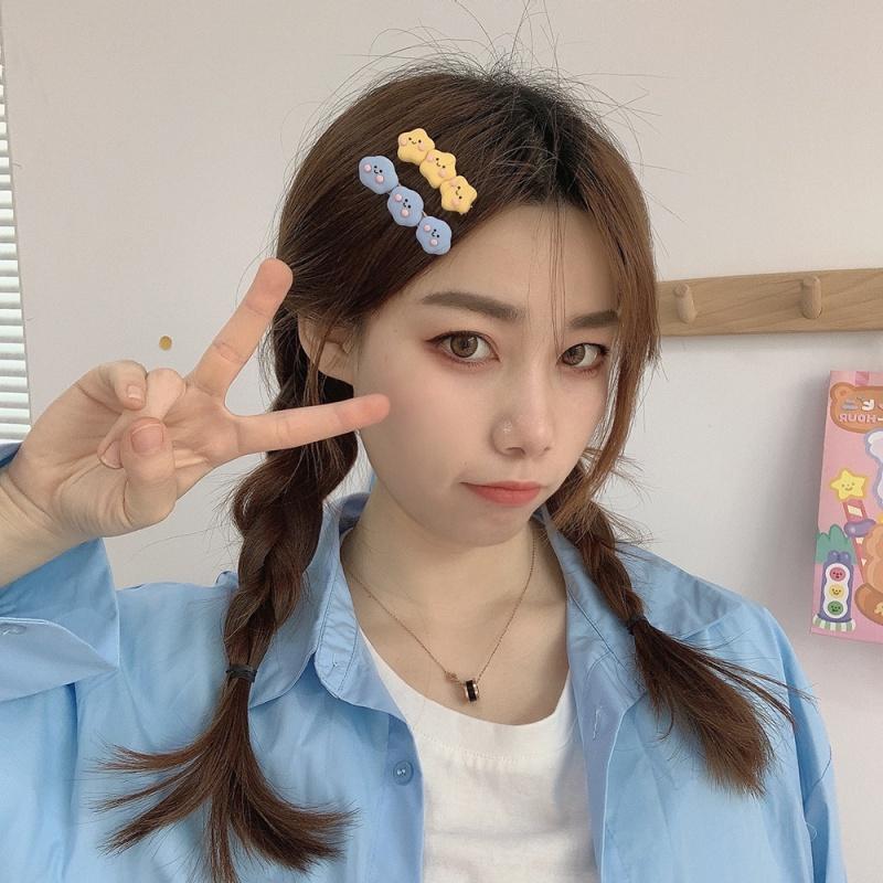 日韩可爱儿童学生奶油星星发夹女甜美爱心边夹刘海一字夹顶夹头饰