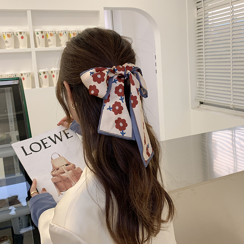 2021 new Korean headdress French retro scarves ribbon bowknot personalized hair accessories with womens hair