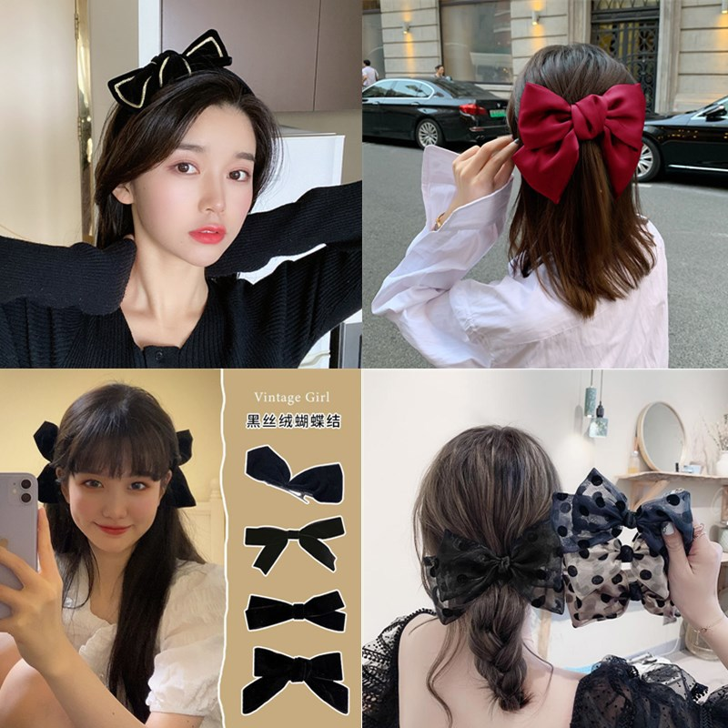 Jiacai big bow, wave point bow hairpin, hairband, Korean hairpin, Japanese net red spring clip H6