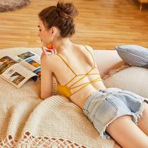 带胸垫交叉美背文胸罩杯一体式女露背吊带夏爆款抹胸内衣性感裹胸