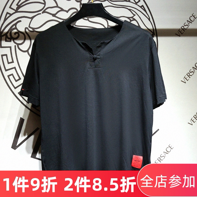 Luxi fat big mens Chinese style button up door collar half sleeve T-shirt with fat and enlarged Han short sleeves in summer