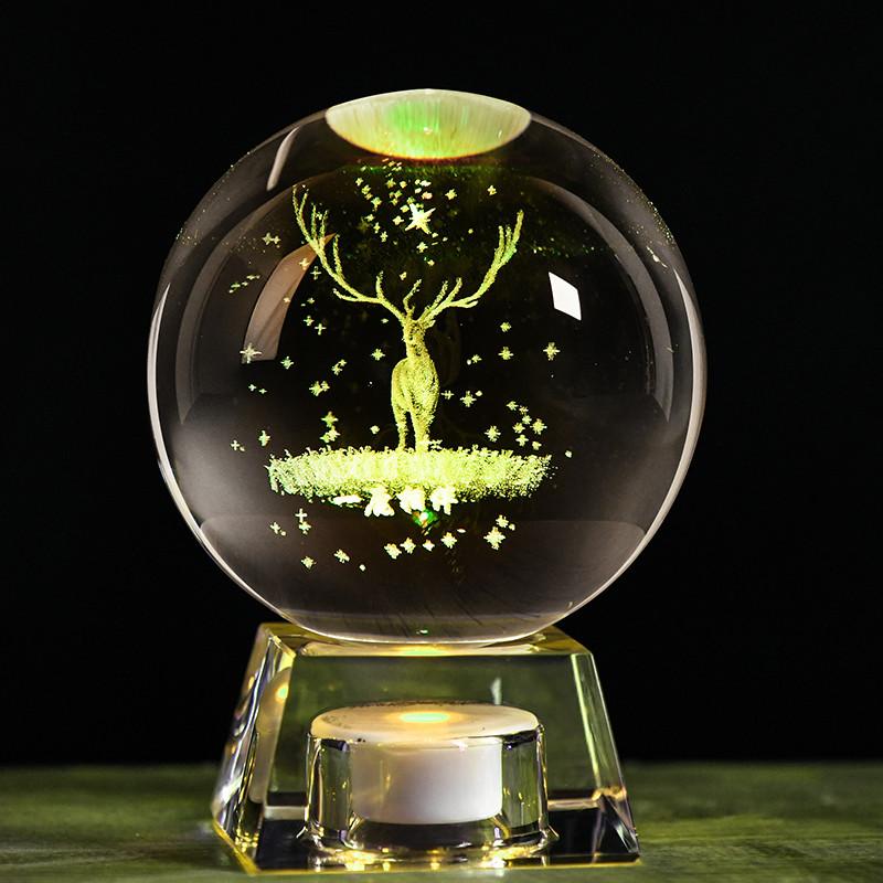 新款生日女生礼物送闺蜜朋友男同学麋鹿星空银河系发光水晶球摆件