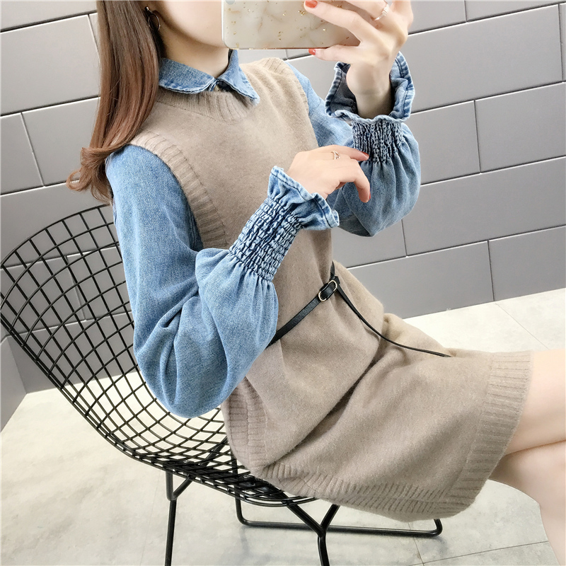 Spring 2020 new mid length Dress Blouse with wool skirt two piece tie waist lace up Knit Skirt fashion