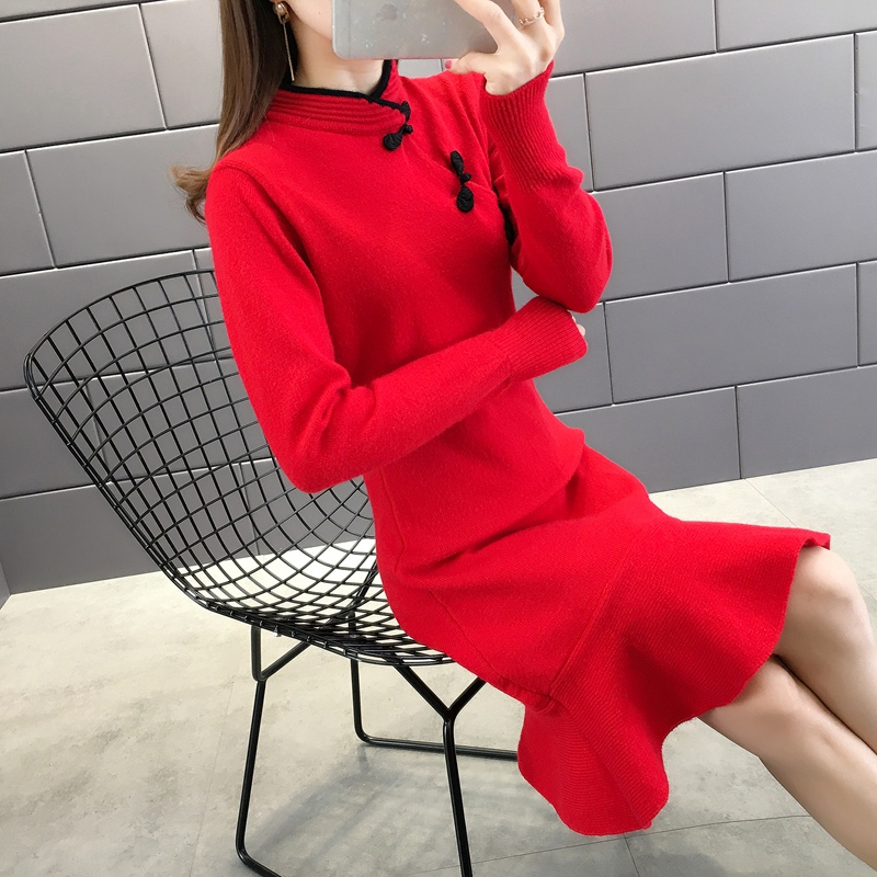 Benmingnian scarlet sweater womens cheongsam medium length New Years greetings dress in autumn and winter of 2019