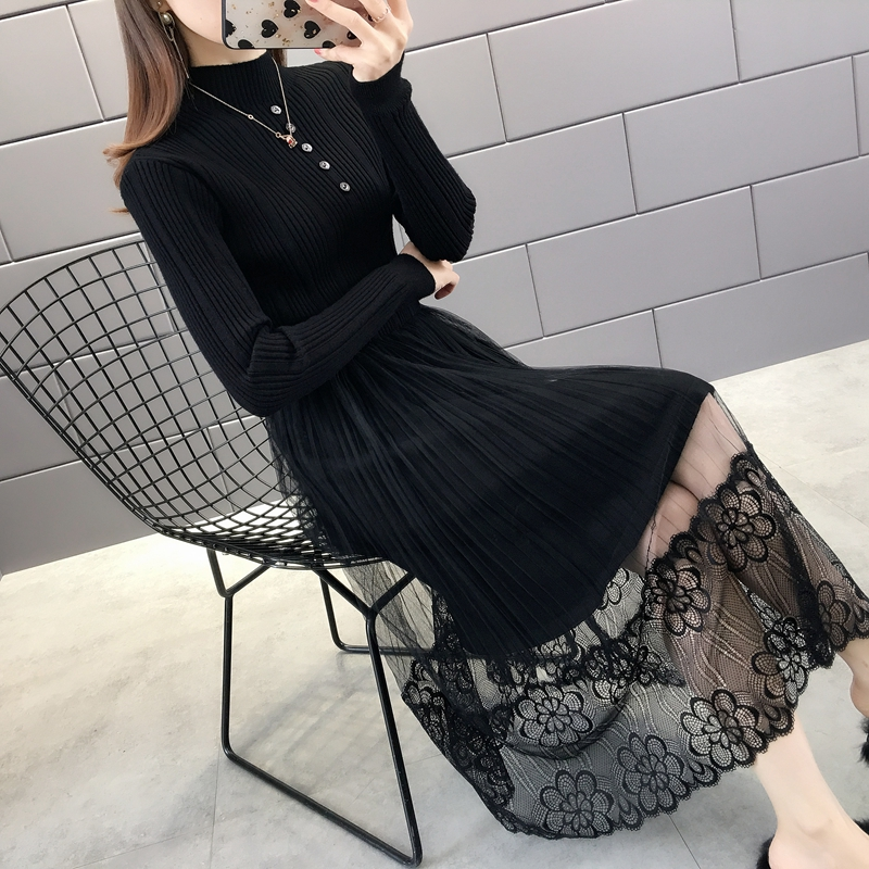Very fairy lace high neck long sweater womens skirt knee length 2019 new medium length bottom coat autumn and winter foreign style