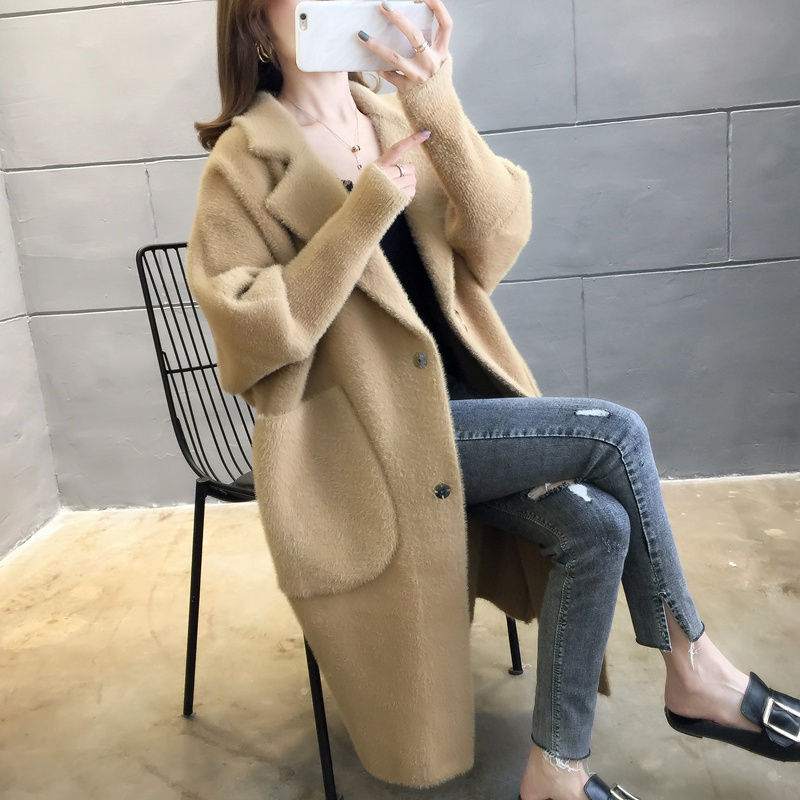 Mink like cardigan with suit collar new mid long thickened Korean sweater womens overcoat in autumn and winter