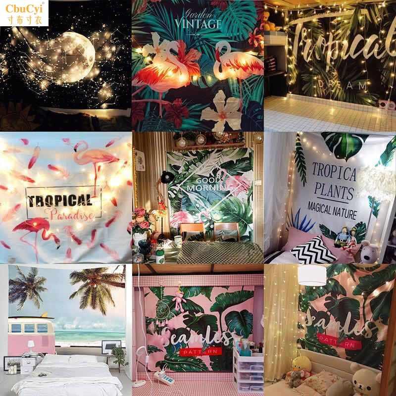 床头背景墙布艺贴布房间宿舍拍照区布置创意打卡店民宿挂毯星