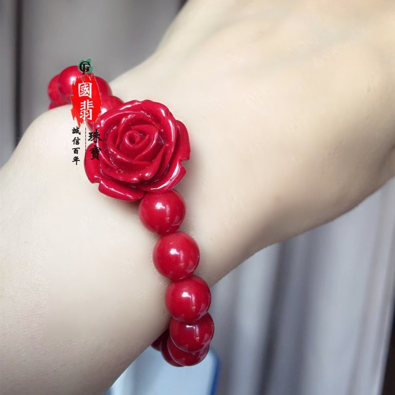 Red rose coral bracelet for new year