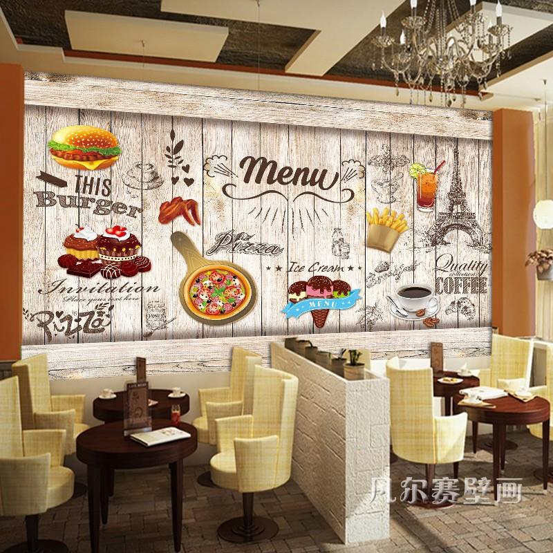 3d炸鸡汉堡墙纸西式快餐小吃壁画披萨店西餐厅奶茶店背景墙壁纸