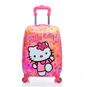韓國輪男女寶寶學生旅行箱制行李箱1618寸四萬向兒童拉桿箱可愛卡