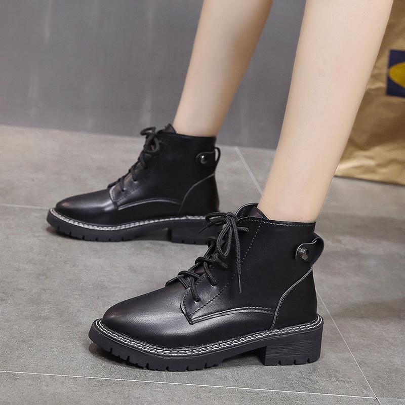 马丁靴女2019秋冬季新款潮百搭加绒系带粗跟小短靴中跟系带棉靴