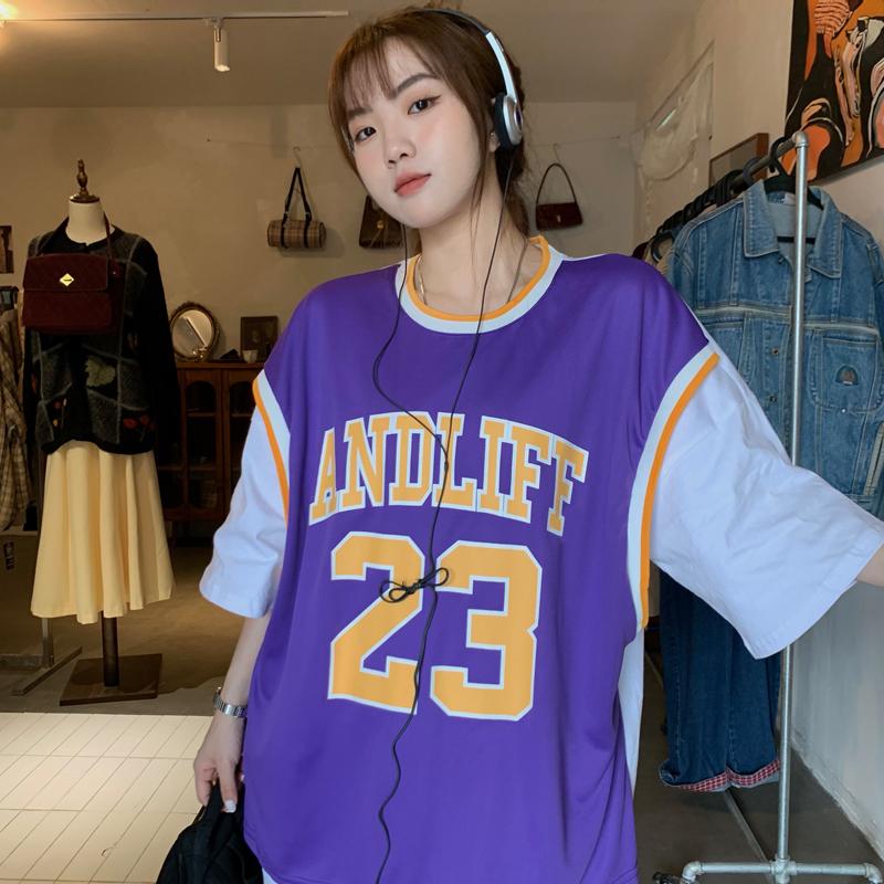 新款假两件23号篮球运动短袖圆领T恤INS男女上衣嘻哈情侣装背心