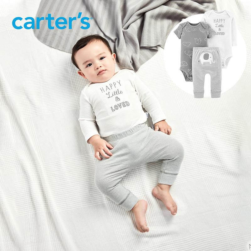 Carters autumn infant childrens lovely elephant Jumpsuit suit set long sleeve long pants short sleeve Jumpsuit 3-piece climbing suit