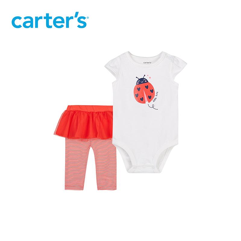 Carters婴儿服连体衣无袖哈衣纯棉包屁衣+长裤裤裙宝宝爬服两件套