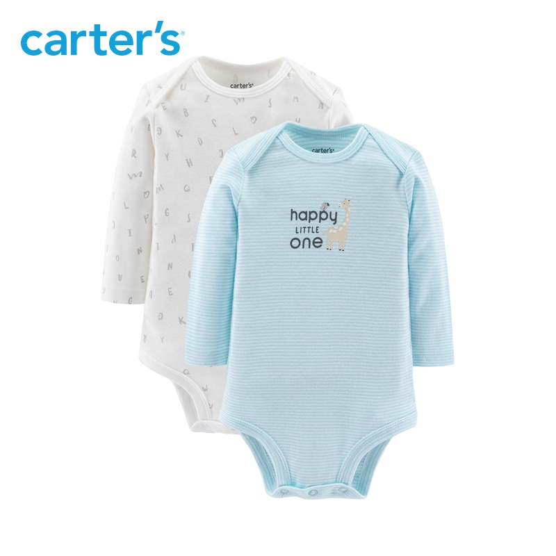 Carters autumn mens and womens treasure long sleeve one-piece triangular creeper suit baby ha bag fart Jumpsuit 2-piece set