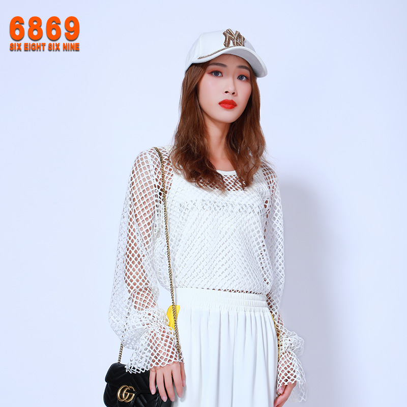 6869 original 2020 autumn new mesh sexy long sleeve Round Neck Shirt womens perspective thin bottomed top
