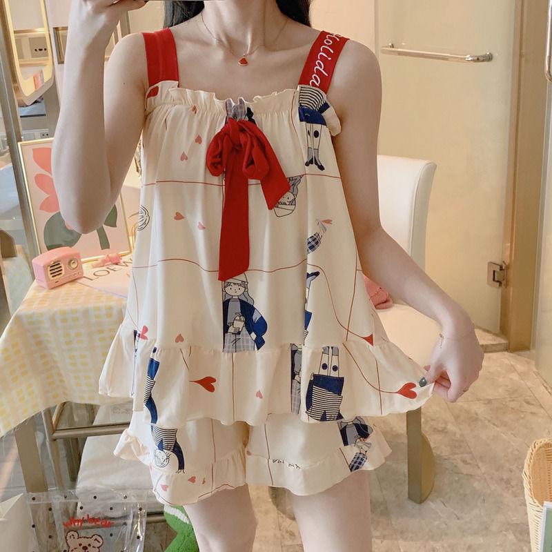 性感吊带背心睡衣女夏学生可爱两件套装夏天韩版薄款可外穿家居服