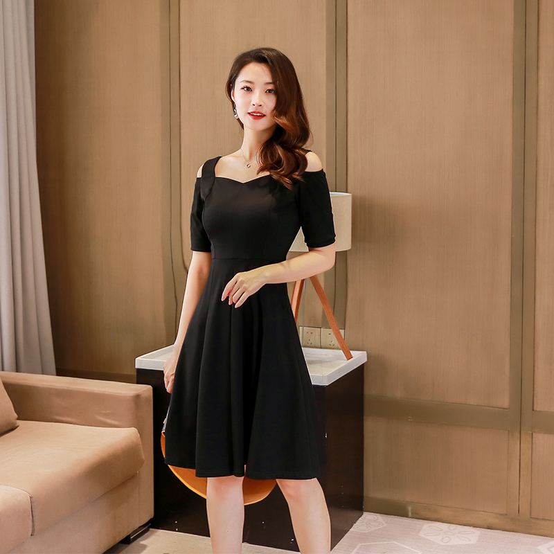 One line collar dress 2021 summer new style slim and slim style shoulder belt skirt with high waist and A-line small black skirt