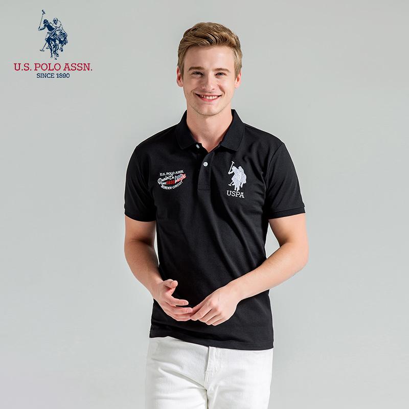 Uspoloassn American Polo Association trend short sleeve polo shirt mens casual print mens Lapel T-shirt