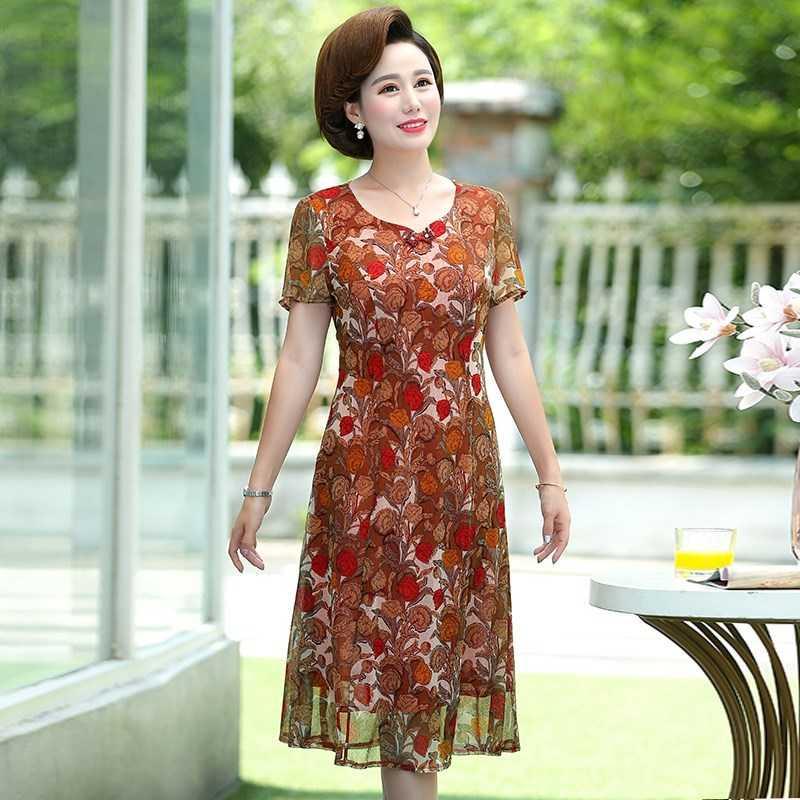 中年妈妈夏装2019夏季新款40岁女装连衣裙中老年女士精品高贵裙子
