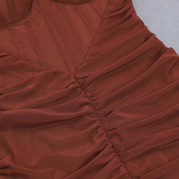 Coffee bra a mesh off shoulder trim waist sexy Jumpsuit Herve legert Jumpsuit evening dress
