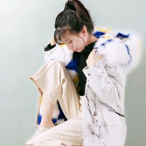 派克服女冬2021新款中长款可拆卸内胆两穿人造皮草时尚潮外套大衣