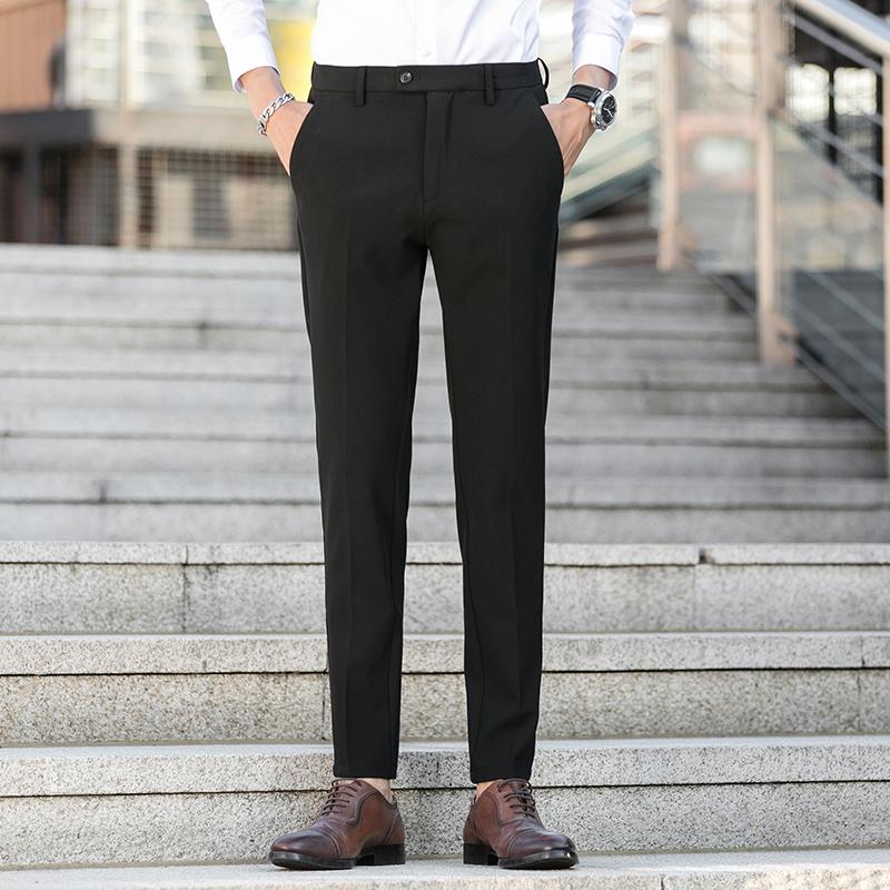 裤子男士秋季2020新款韩版潮流百搭休闲长裤坠感小西装裤K6067P80