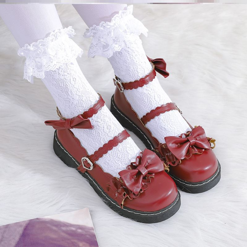 Lolita thin flat heeled womens shoes large and small shoes Japanese female JK childrens College uniform single shoe student