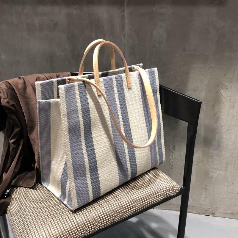 大包包女2020新款潮韩版百搭大容量条纹撞色帆布包ins超火单肩包