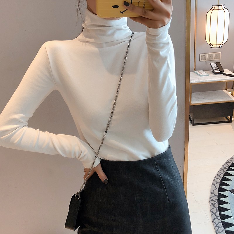White base coat for women 2021 spring new style with high collar and long sleeve T-shirt for women