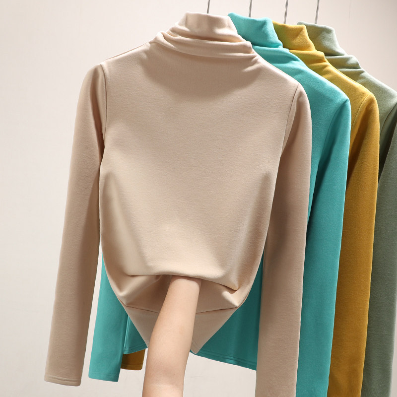 Teflon base coat for womens self heating in spring and 2021 high collar and Western style thickened T-shirt for women in autumn and winter