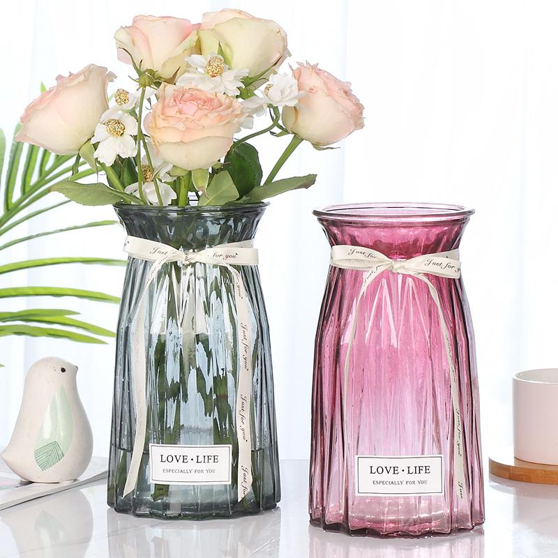 折纸玻璃花瓶绿萝透明摆件北欧客厅装饰品插花创意餐桌家居摆设
