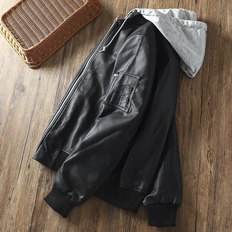 。岛国单!连帽可拆卸!秋冬男士时尚宽松休闲棒球领皮衣夹克外套