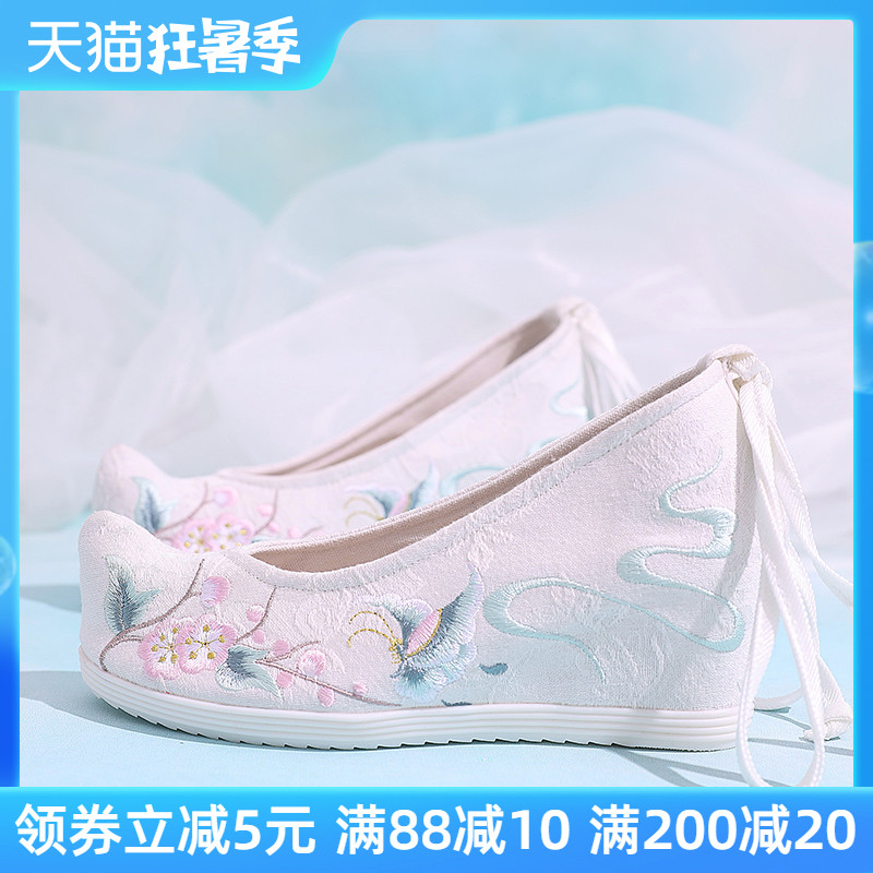 搭配漢服的鞋子女古風元素內增高淡雅翹頭坡跟古裝布鞋高跟繡花鞋