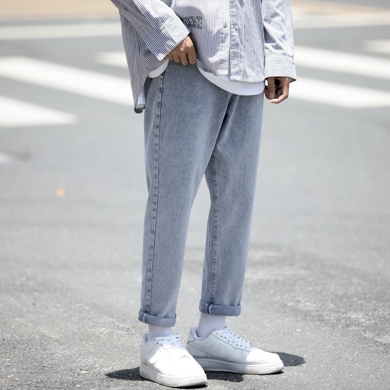 牛仔裤男夏天薄款直筒宽松潮牌潮流百搭九分休闲夏季超火痞帅裤子