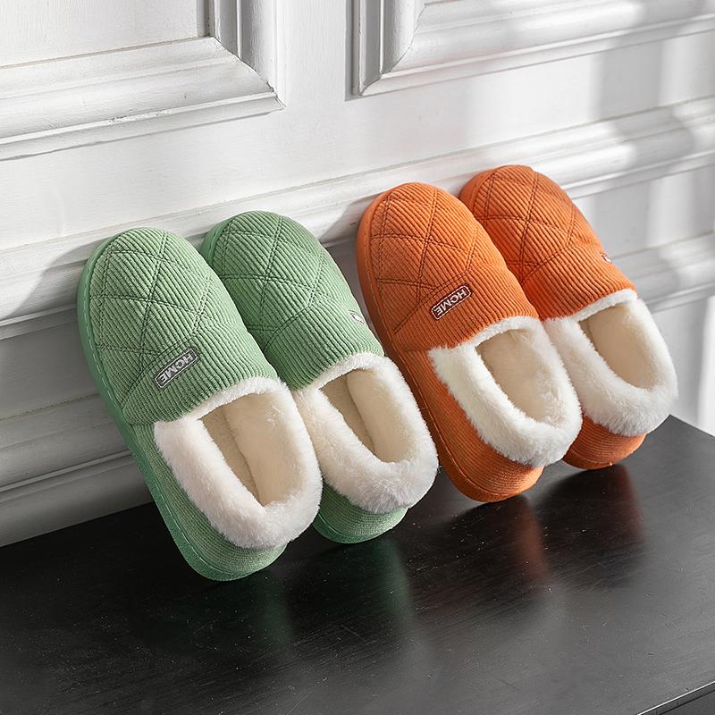 灯芯绒棉拖鞋女包跟冬季情侣居家室内厚底防滑毛绒保暖新款月子鞋