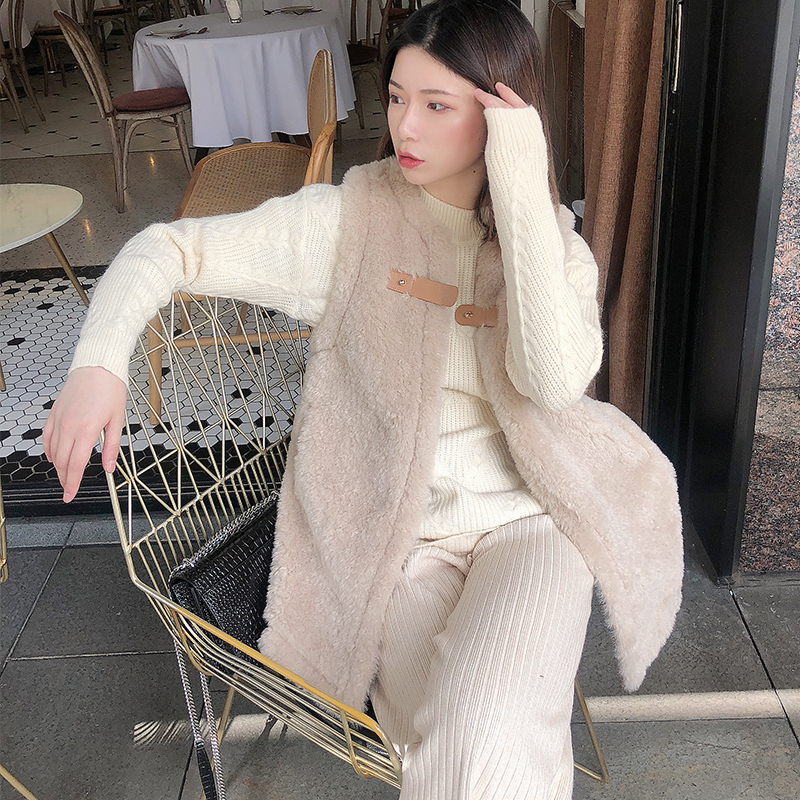 Weyhan Warehouse Clearance special cashmere fur one medium length 2019 new Korean sleeveless Plush coat