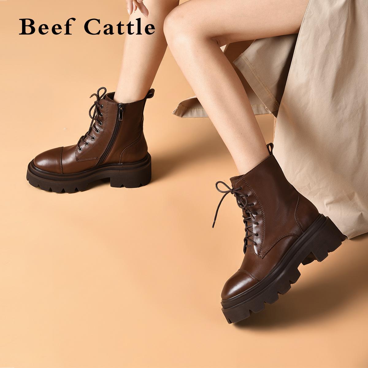 BF厚底马丁靴女英伦风中跟真皮系带短靴2021秋冬新款百搭休闲靴子