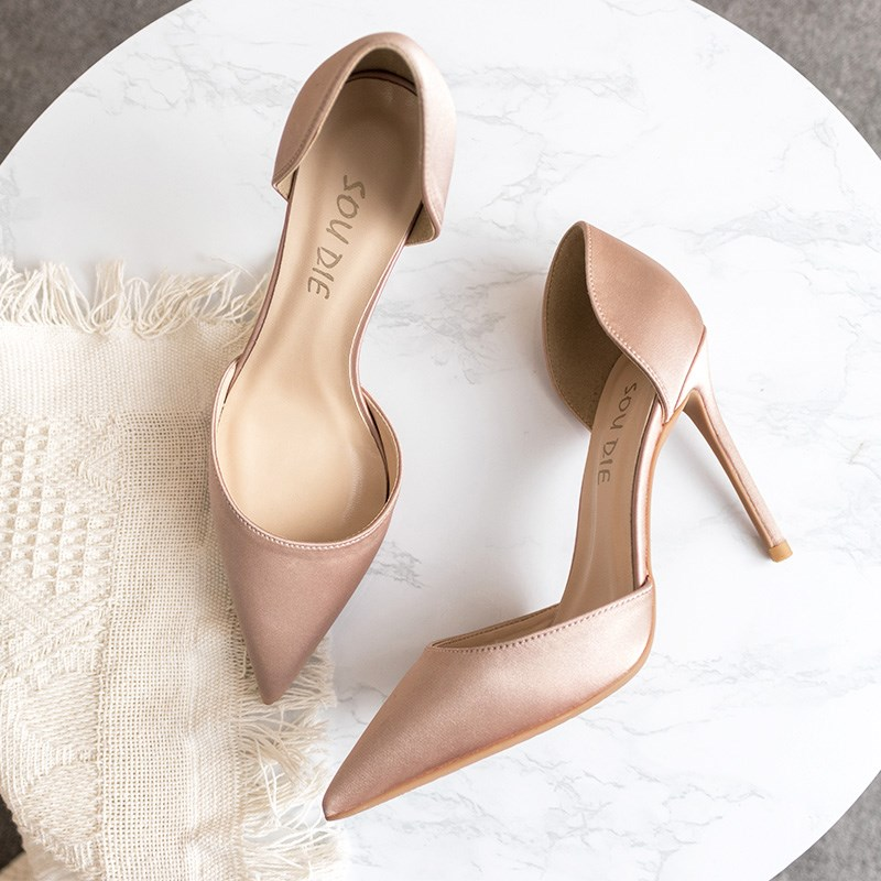 Silk satin Champaign girl slim heel small fresh French nude hollow pointed head Orsay single high heeled wedding shoes