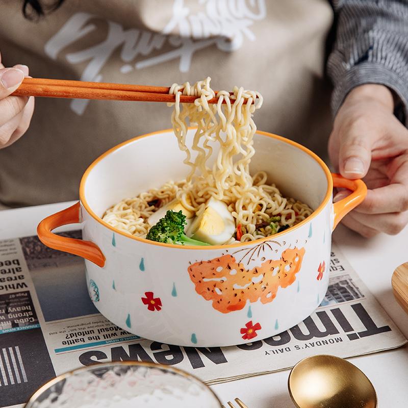 双耳泡面碗带盖陶瓷家用碗大号学生宿舍用日式可爱汤碗面碗拉面碗
