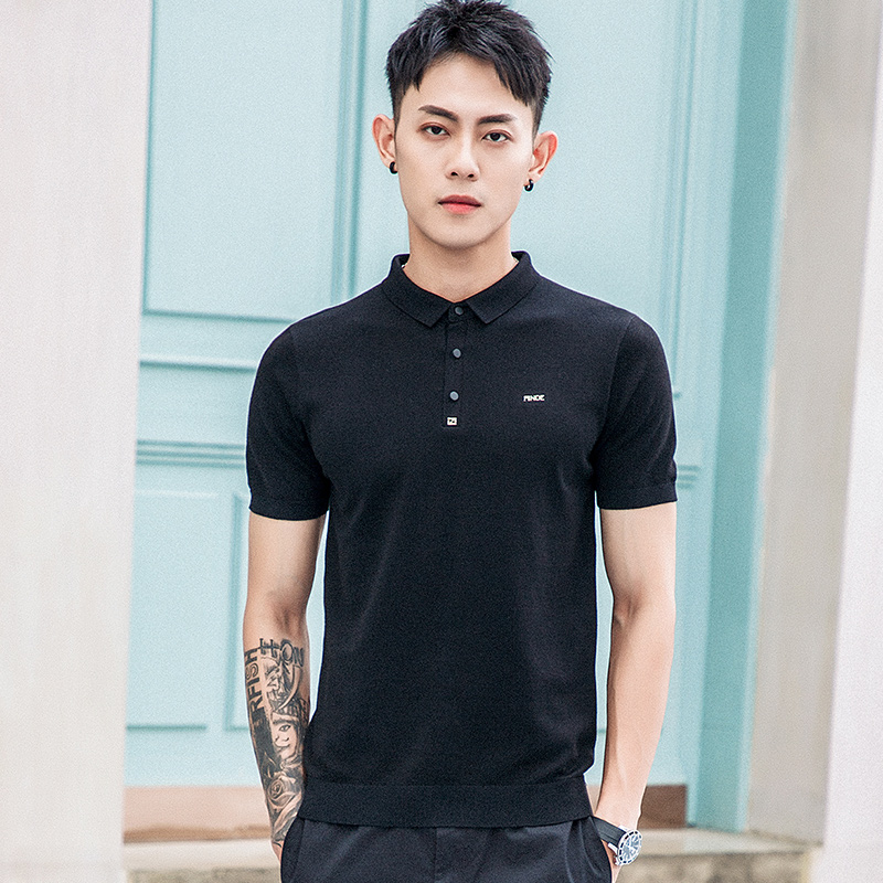Wind blowing day silk knitted T-shirt mens Lapel short sleeve T-shirt bottom shirt breathable slim fit Top Black