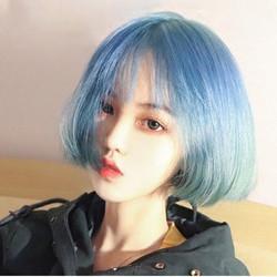 热卖的假发女蓝绿渐变短发收脸减龄二次元学生头空气刘海款全头式