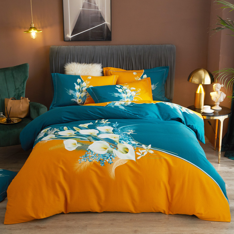 Thickened ground cotton four piece set 100 cotton bedding autumn winter quilt cover fitted sheet three piece set 4