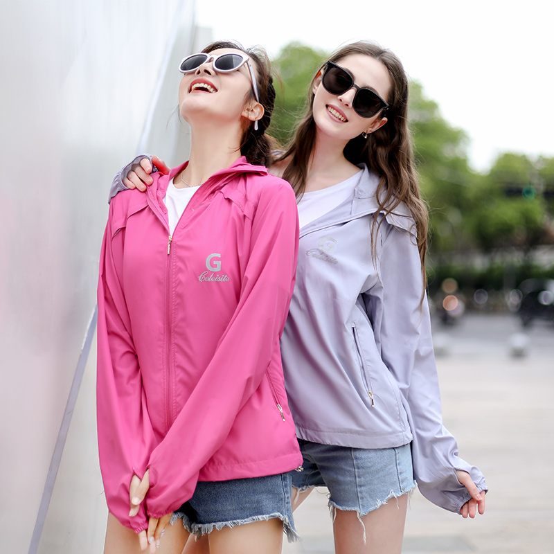 Glace cool clothes with cap sunscreen jacket anti ultraviolet summer new thin waterproof thin