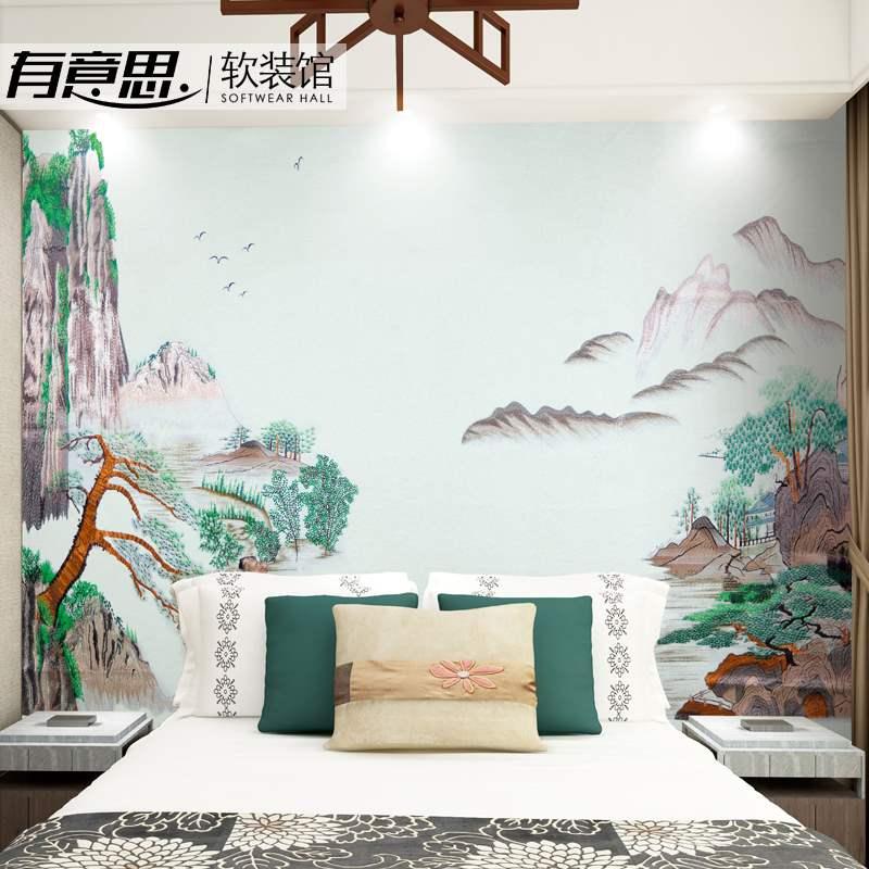 高端山水独绣墙布刺绣无缝客厅卧室电视背景墙壁布新中式独秀壁画限4000张券