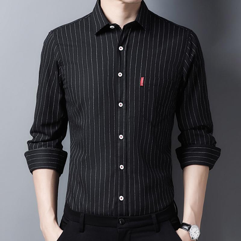 秋季长袖免烫衬衣男休闲条纹衬衫上衣