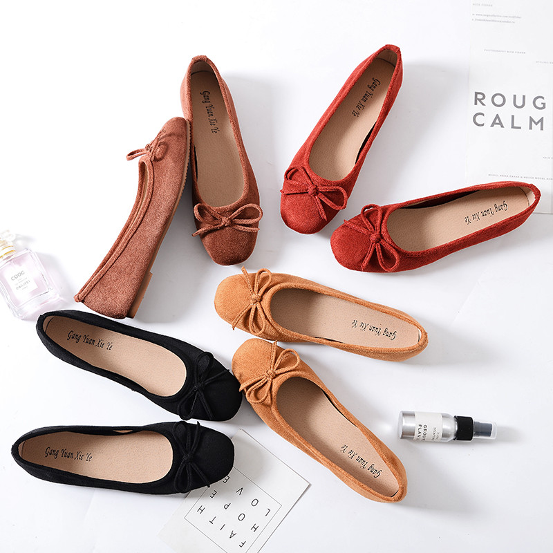 Spring bow single shoes womens light mouth red small Ladybug shoes soft suede Ballet Flat Shoes large 41-43