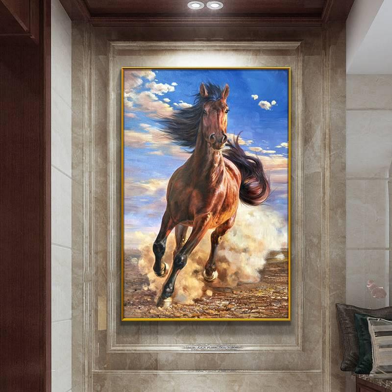 動物馬裝飾畫走廊酒店大尺寸壁畫純手繪油畫馬到成功入戶玄關掛畫