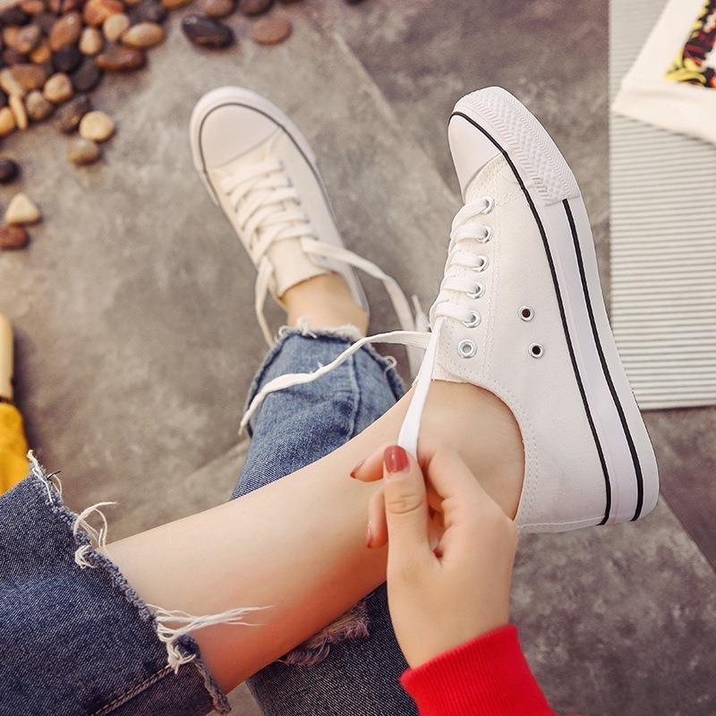 大号帆布鞋女鞋大码40 41 42 43码平底布鞋女士休闲板鞋单鞋 h6j1