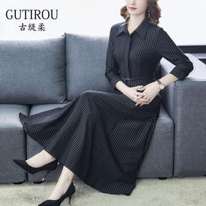 2020春秋季贵夫人女装高端洋气连衣裙长袖长款北欧风气质大码名媛